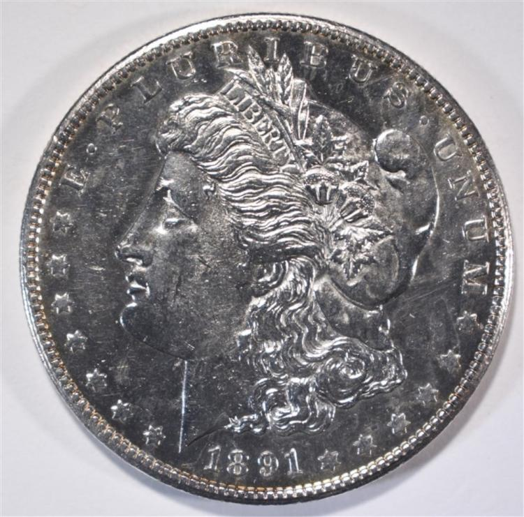 1891-S MORGAN DOLLAR GEM BU PL