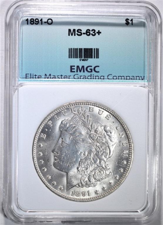 1891-O MORGAN DOLLAR, EMGC CH BU+