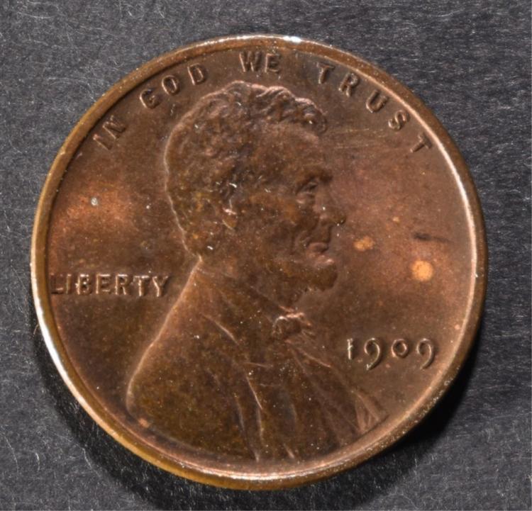 1909 VDB LINCOLN CENT AU/UNC