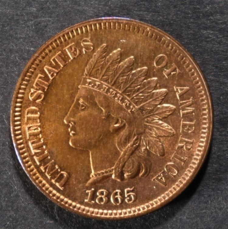 1865 INDIAN HEAD CENT CHBU RED
