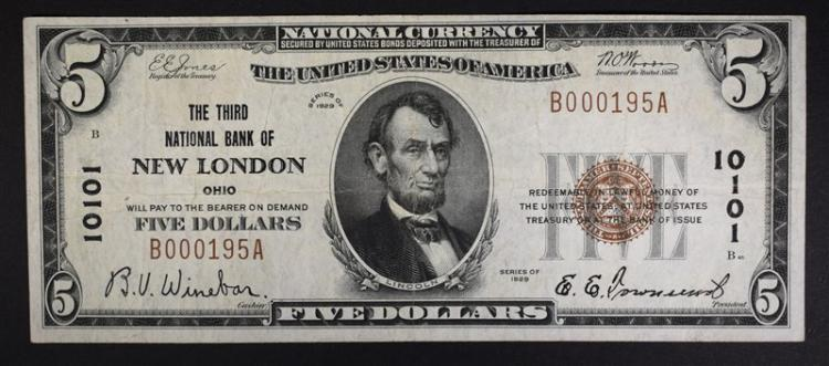 1929 TY 1 $5 NATIONAL CURRENCY VF
