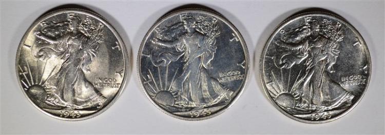 3-1943-S WALKING LIBERTY HALF DOLLARS, CH BU