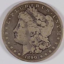 1890-CC MORGAN SILVER DOLLAR, VG