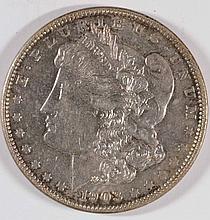 1903 MORGAN SILVER DOLLAR, AU-58