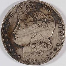 1904-S MORGAN SILVER DOLLAR, ORIGINAL VG/FINE  SEMI-KEY