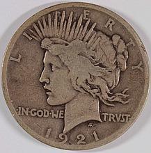 1921 PEACE SILVER DOLLAR, VG  SEMI-KEY