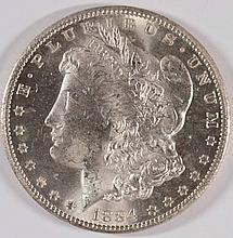 1884-CC MORGAN SILVER DOLLAR, MS-63+  BLAST WHITE!