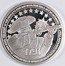 2nd AMENDMENT ONE Oz .999 SILVER ROUND ( RIGHT TO BEAR ARMS )  FEAT. MINUTE MAN