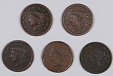 (5) LARGE CENTS (37, 38, 39, 40, 42) AG/VG