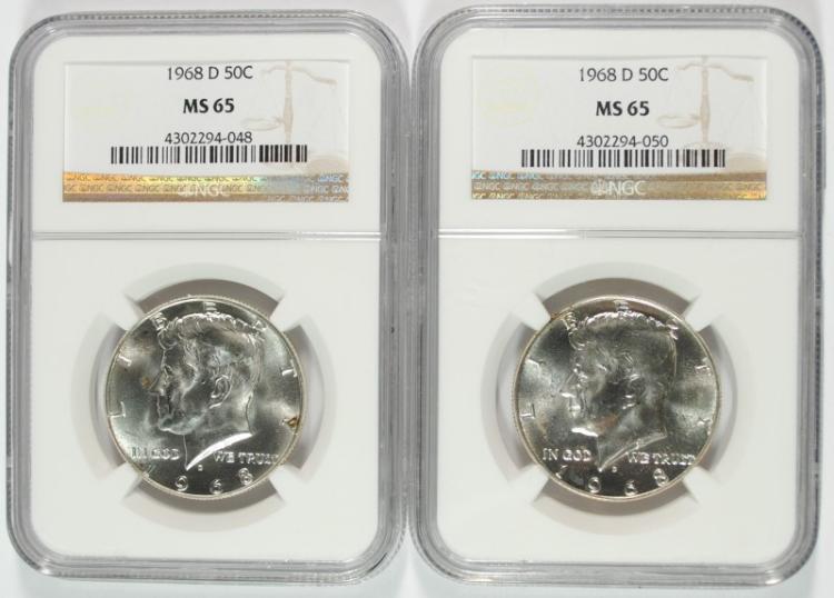 1968 D Kennedy Silver Half Dollar NGC MS65