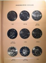 COMPLETE IKE DOLLAR SET 32 COINS, BU + PROOF 1971-1978 IN DANSCO ALBUM!