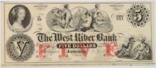 1850'S $5.00 VERMONT JAMAICA WEST RIVER BANK  NOTE, AU