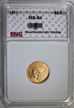 1911 $2.50 INDIAN HEAD GOLD RNG CH BU