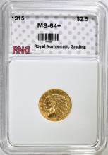 1915 $2.50 INDIAN HEAD GOLD RNG CH BU+