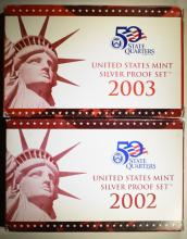 2002 & 2003 U.S. SILVER PROOF SETS IN ORIGINAL PACKAGING