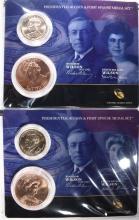 2 - 2013 Pres. $1 Coin & Spouse Medal Set -Woodrow-Edith Wilson & Ellen Wilson