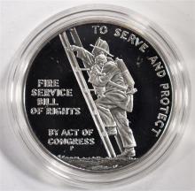 U.S. MINT ONE OUNCE .999 SILVER BEN FRANKLIN FIREMAN SILVER MEDAL IN ORIG BOX