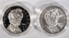ABRAHAM LINCOLN PROOF & UNC COMMEMORATIVE SILVER DOLLARS IN ORIG BOXES/COA