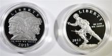 2011 ARMY & 2012 INFANTRY SOLDIER PROOF COMMEM SILVER DOLLARS IN ORIG BOX/COA