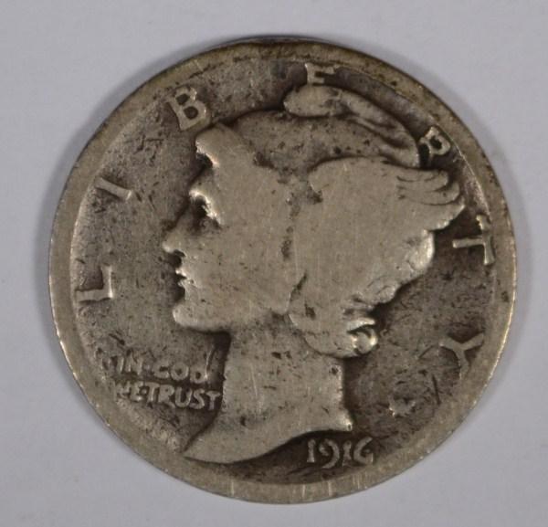 1916D Mercury dime borderline good est $500-$525