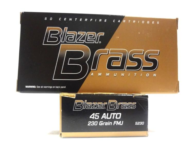 2 Boxes of Blazer Brass Centerfire 45 Auto..