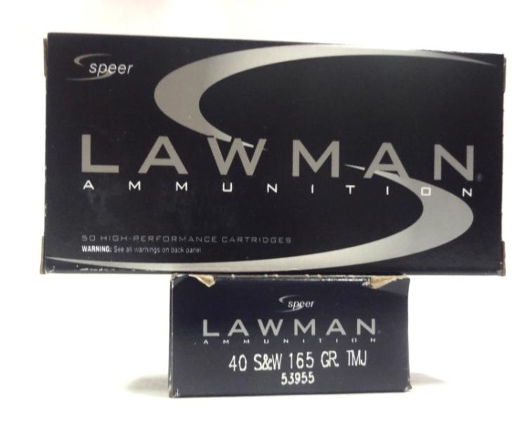 2 Boxes of Lawman Ammunition 40 S&W 165 Gr. TMJ. 50 Rounds per Box.