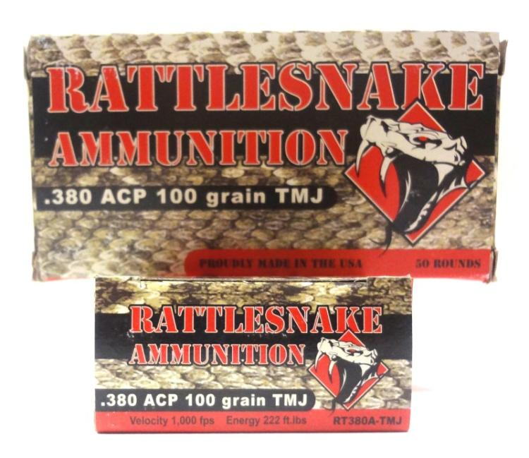 2 Boxes of Rattlesnake .380. 50 Rounds per box.