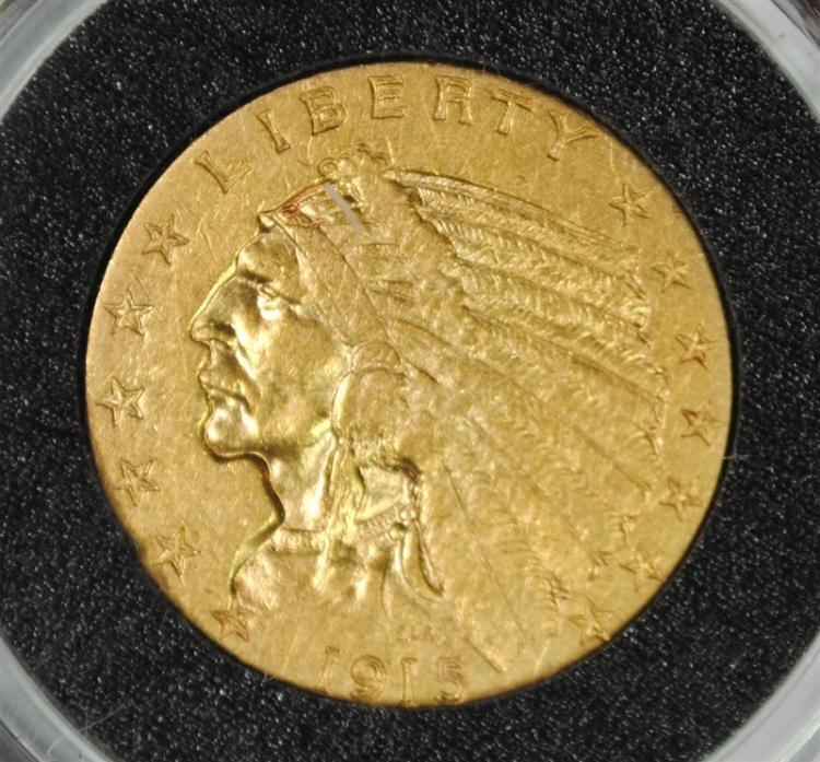 1915 $2.50 GOLD INDIAN, AU