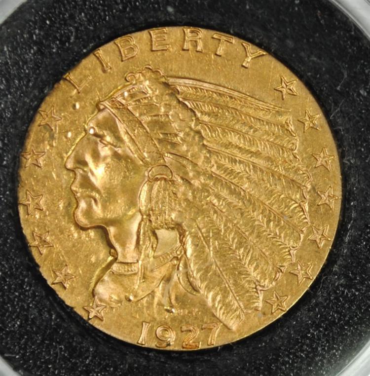 1927 $2.50 GOLD INDIAN , AU