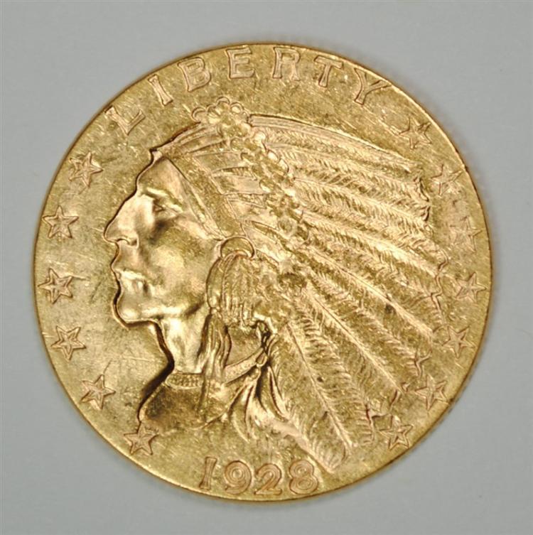 1928 $2.5 GOLD INDIAN BU
