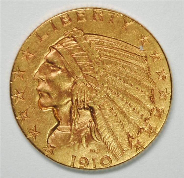 1910-D $5 GOLD INDIAN BU