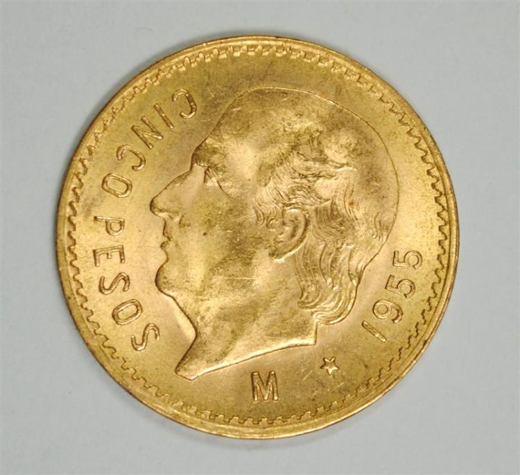 1955 5 PESO MEXICO GOLD, BU