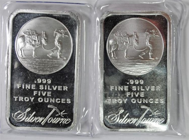 ( 2 ) 5 OUNCE .999 SILVER BARS ( SILVERTOWNE )