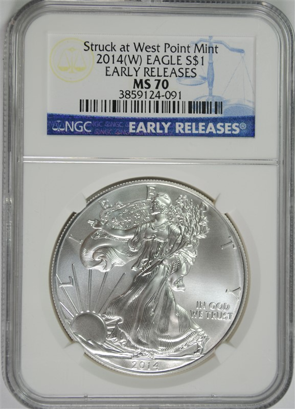 2014-(W) AMERICAN SILVER EAGLE, NGC MS-70 EARLY RELEASES
