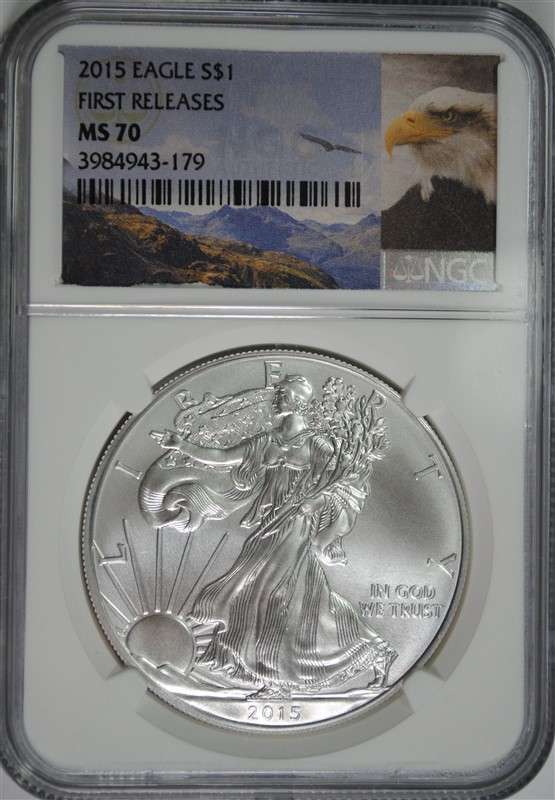 2015  AMERICAN SILVER EAGLE, NGC MS-70 FIRST RELEASES