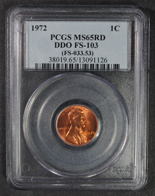 1972 DDO LINCOLN ONE CENT PCGS MS65RD FS-103