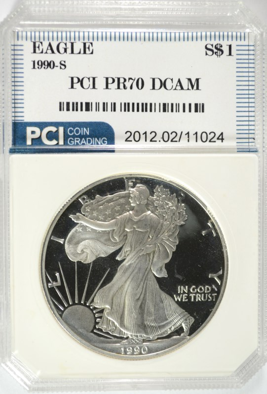 1990-S AMERICAN SILVER EAGLE PCI GRADED PERFECT PROOF DCAM