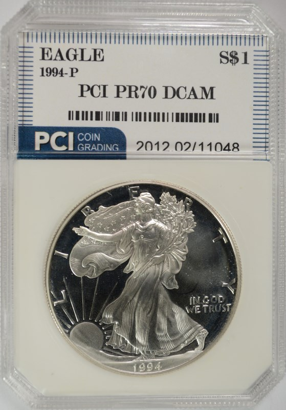 1994-P AMERICAN SILVER EAGLE PCI GRADED PERFECT PROOF DCAM
