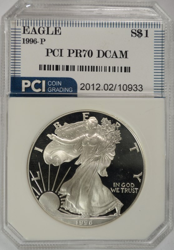 1996-P AMERICAN SILVER EAGLE PCI GRADED PERFECT PROOF DCAM