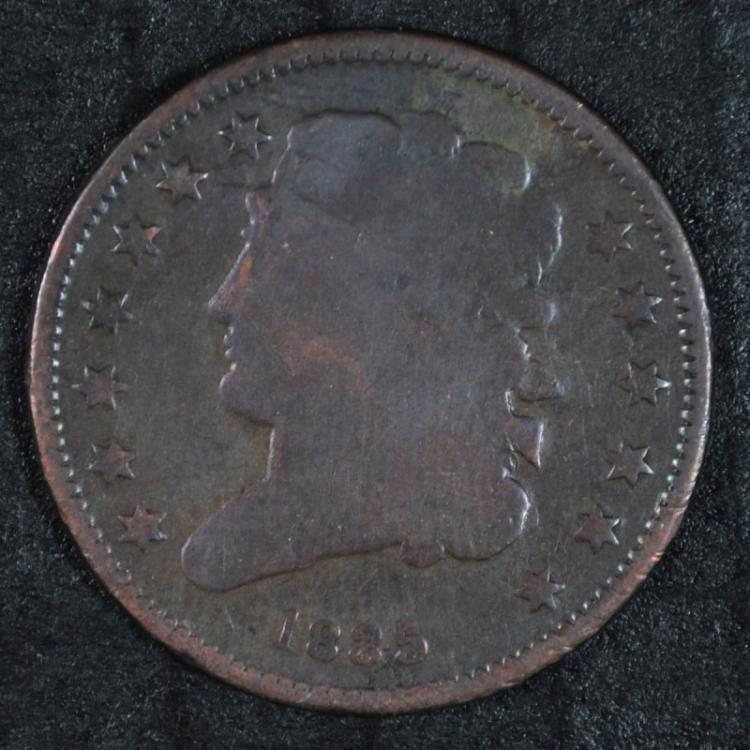 1835 HALF CENT VG