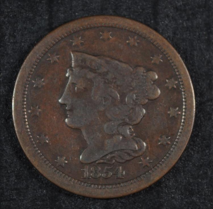 1854 HALF CENT FINE