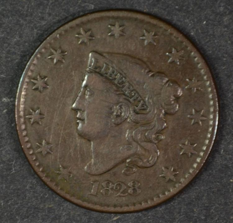 1828 LARGE CENT NICE  VF-XF