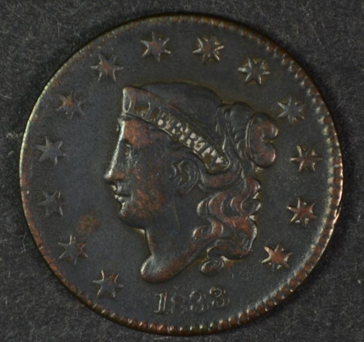 1833 LARGE CENT  VF-XF