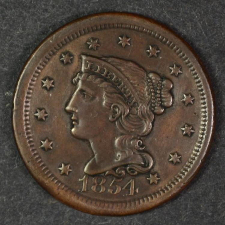 1854 LARGE CENT CH AU BROWN