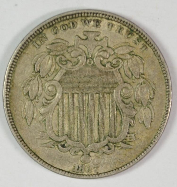 1867 WITH RAYS SHIELD NICKEL XF/AU SCARCE