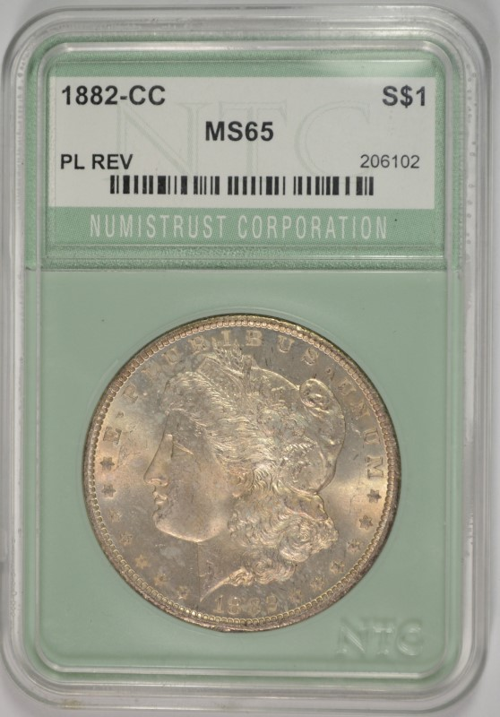 1882-CC MORGAN SILVER DOLLAR NTC GRADED GEM BU+ PL REV.