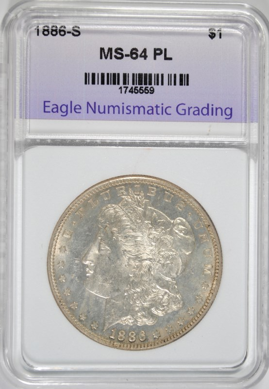 1886-S MORGAN SILVER DOLLAR GRADED ENG CH BU PL