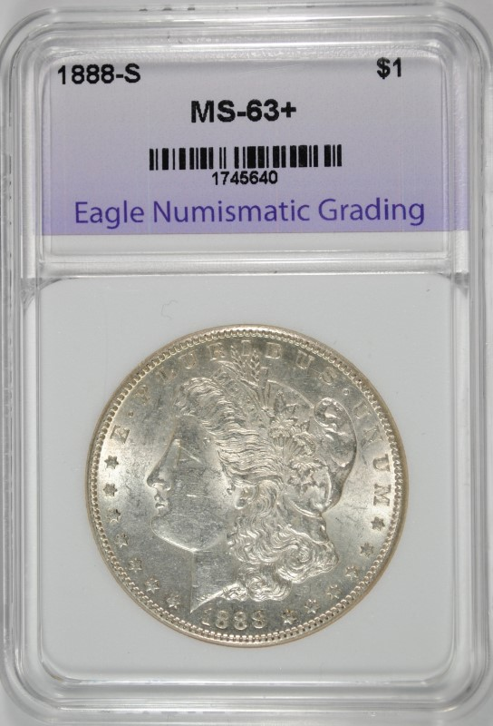 1888-S MORGAN SILVER DOLLAR GRADED ENG CH BU+