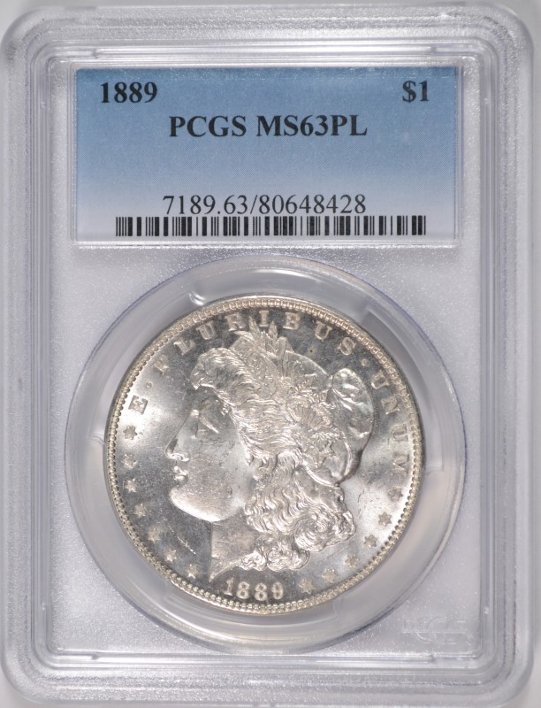 1889 MORGAN SILVER DOLLAR PCGS MS63PL