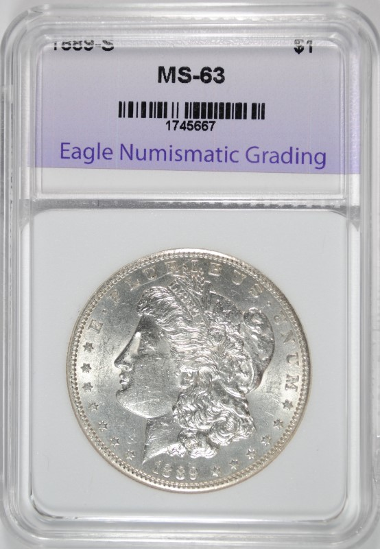 1889-S MORGAN SILVER DOLLAR GRADED ENG CH BU